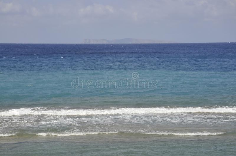 Aegean Seascape from Hersonissos beach stock photography
