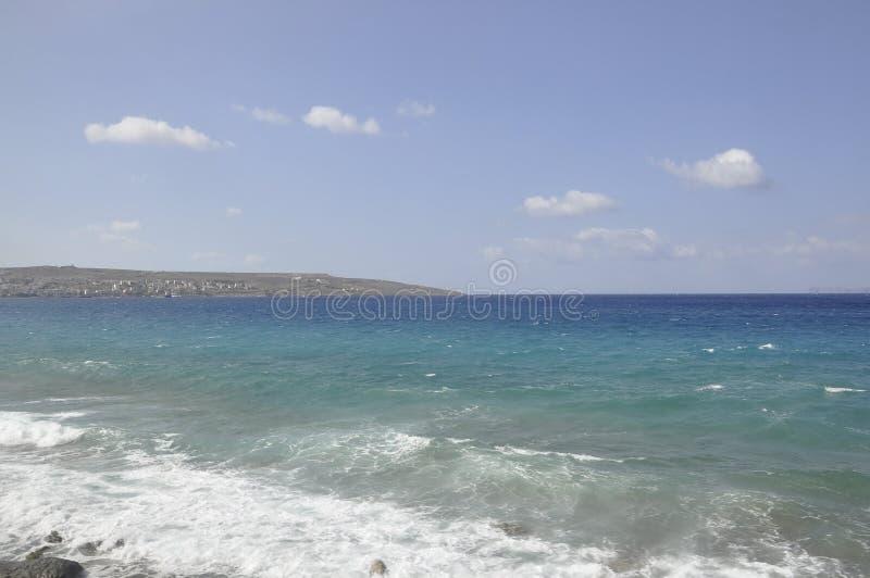 Aegean Seascape from Hersonissos beach stock photos