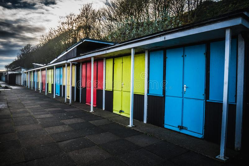 Multicolored Seaside Holiday Huts in Filey stock image