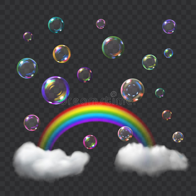 Multicolored soap bubbles, rainbow and clouds stock illustration