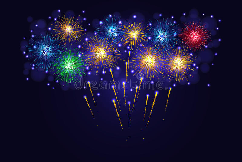 Multicolored sparkling vector fireworks royalty free stock photography