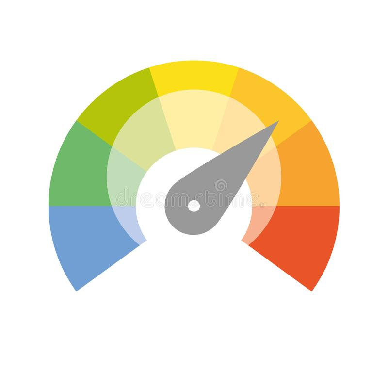 Free Multicolored Spectrum Radial Gauge Scale With Arrow Hand Pointer. Satisfaction, Temperature, Risk, Rating, Performance Royalty Free Stock Photography - 152270207