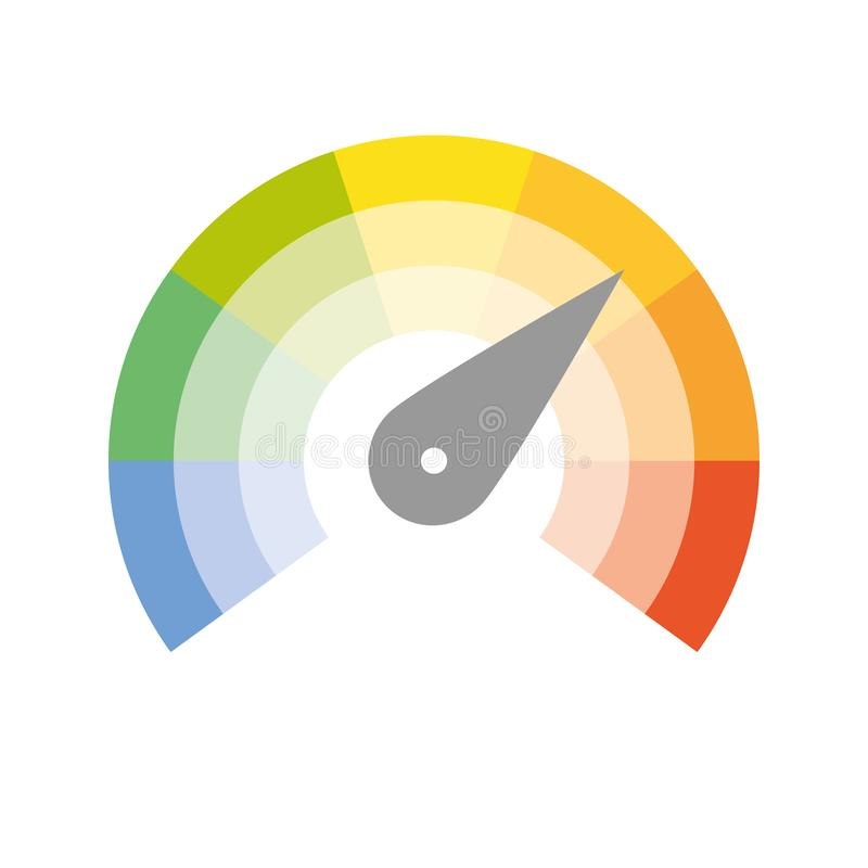Free Multicolored Spectrum Radial Gauge Scale With Arrow Hand Pointer. Satisfaction, Temperature, Risk, Rating, Performance Stock Image - 155203341