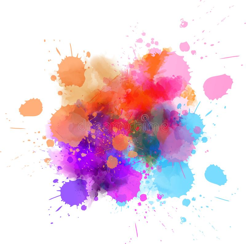 Multicolored splash watercolor blot. Template for your designs stock illustration