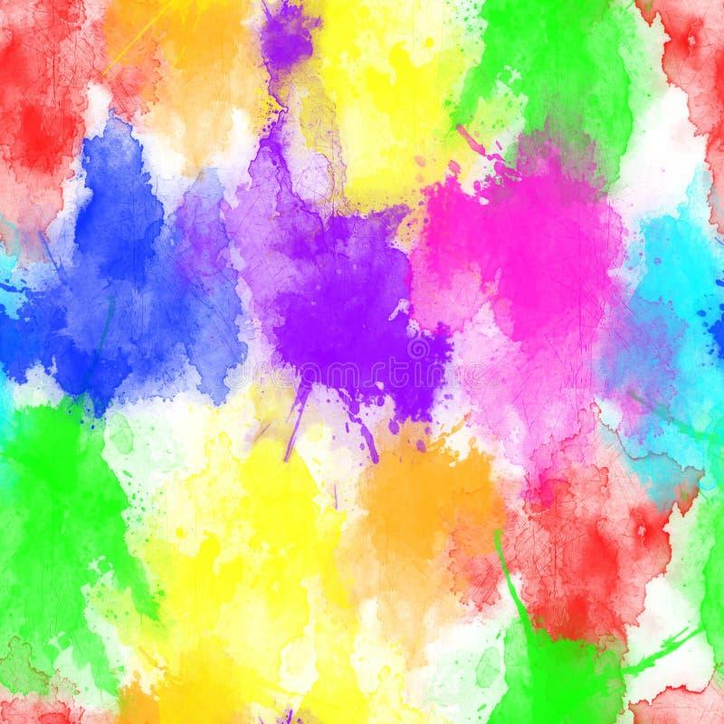 Multicolored splash watercolor seamless pattern. Brush strokes background. Colorful digital print. - illustration. vector illustration