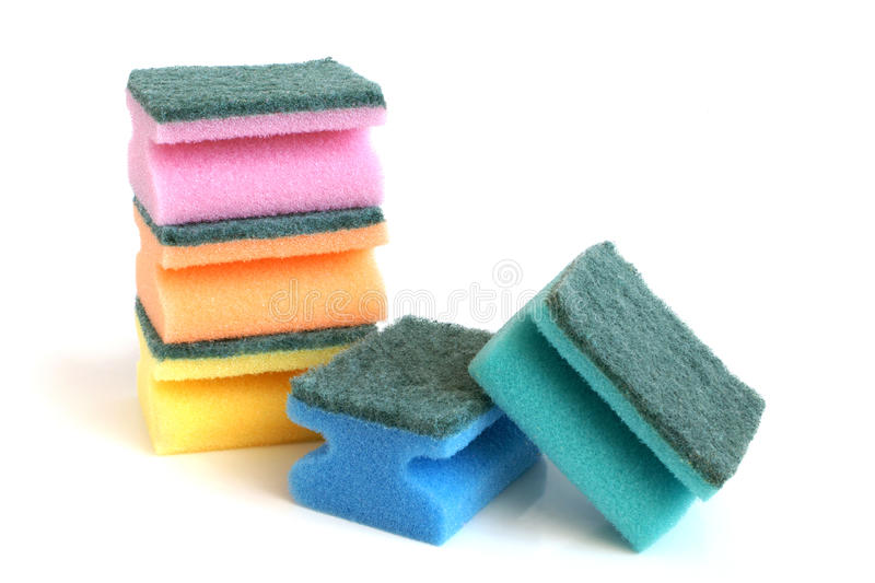 Multicolored sponges royalty free stock images