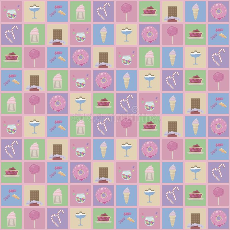 Multicolored squares with drawings of cute sweets: ice cream, donuts and muffins pink vector seamless pattern. Multicolored squares with drawings of cute sweets vector illustration