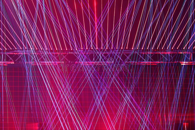 Multicolored stage laser lights at concert royalty free stock photos