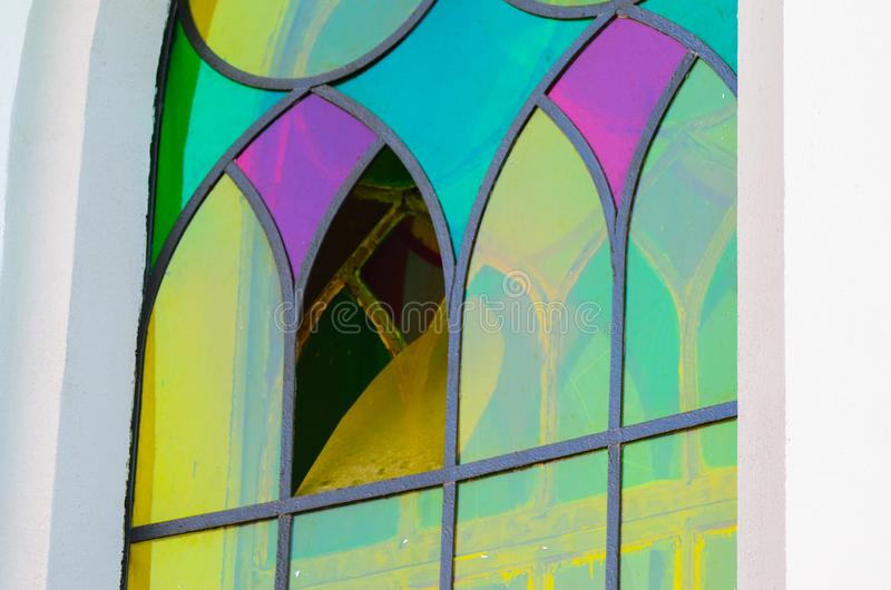 Multicolored stained glass window Gothic style stock photo