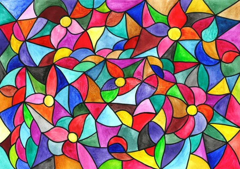 Multicolored stained-glass window, watercolor illustration for y stock illustration