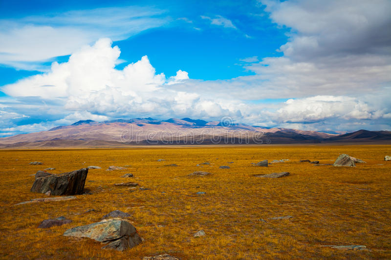 Multicolored steppe landscape with large stones royalty free stock photography