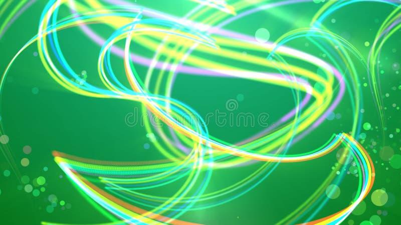 Multicolored strepen op de groene achtergrond stock illustratie