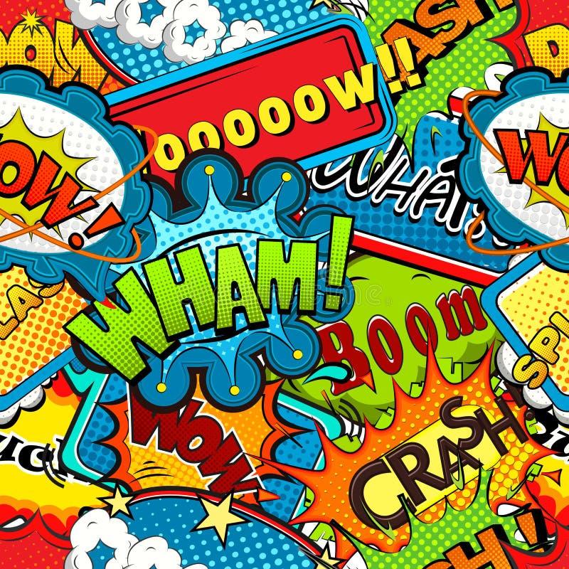 Multicolored strippaginatoespraak borrelt naadloze patroonvector stock illustratie
