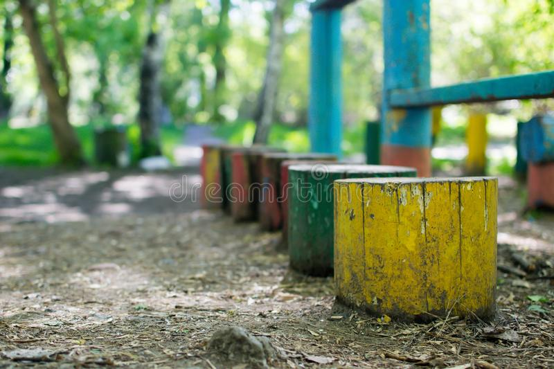 Multicolored stumps in the summer green park stock photos