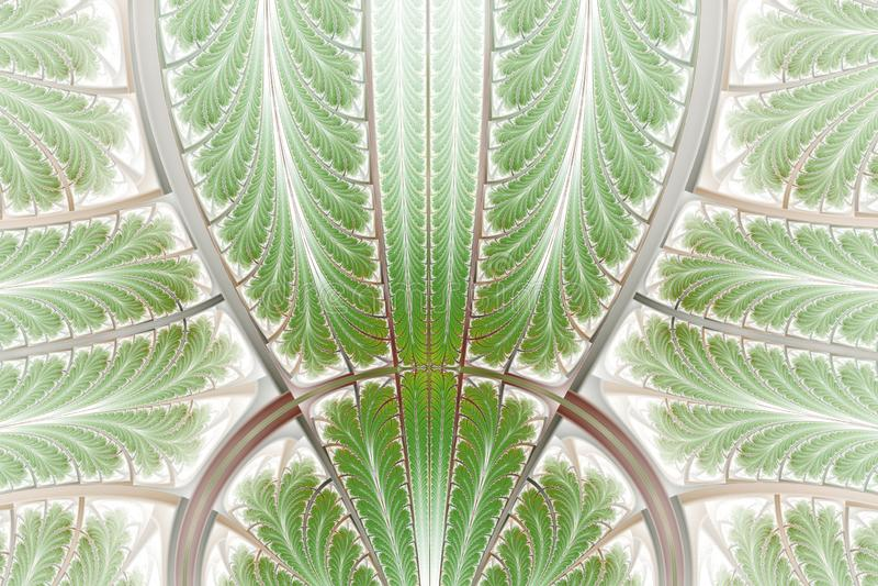Multicolored symmetrical fractal pattern as ornament. Fractal art stock illustration