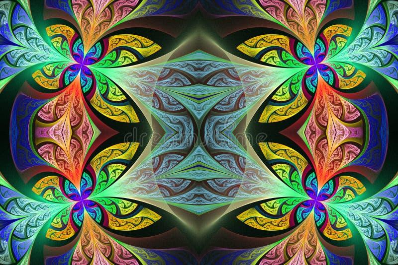 Multicolored Symmetrisch bloempatroon in de stijl van het gebrandschilderd glasvenster Kunstwerk voor creatief ontwerp, kunst en  stock illustratie