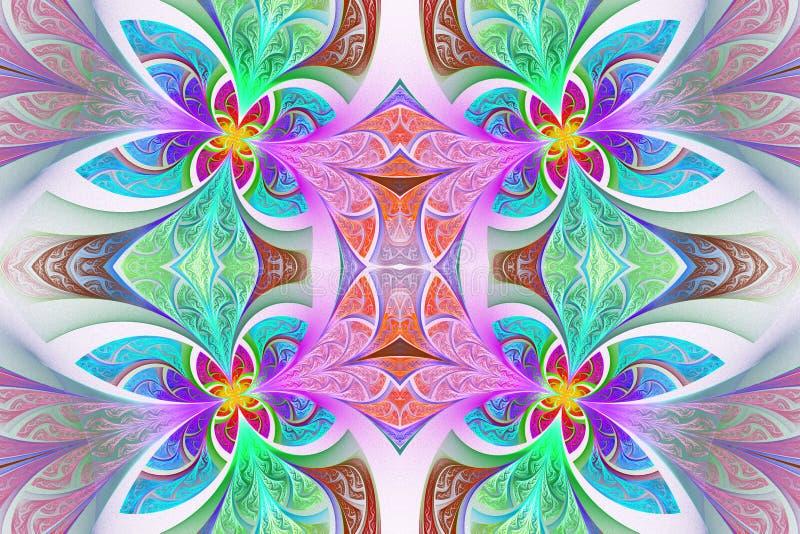 Multicolored Symmetrisch bloempatroon in gebrandschilderd glasvenster stock illustratie