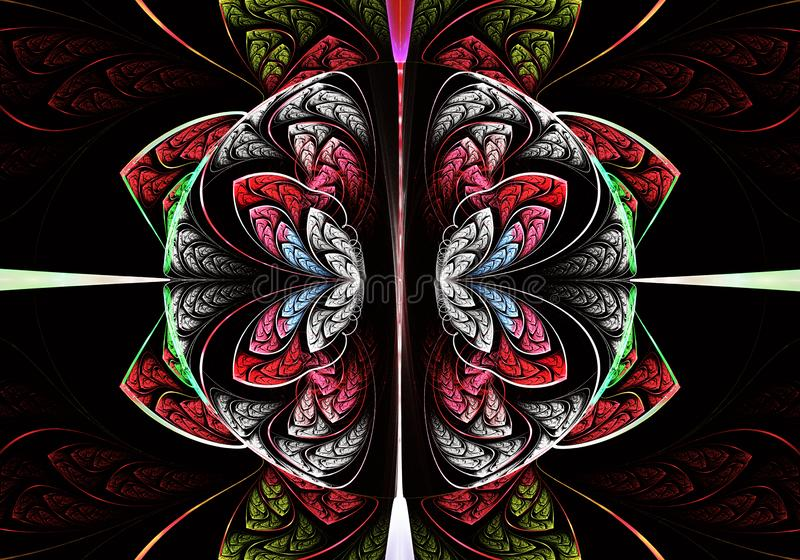 Multicolored symmetrisch fractal patroon als bloem vector illustratie