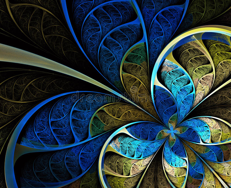 Multicolored symmetrisch fractal patroon als bloem royalty-vrije illustratie