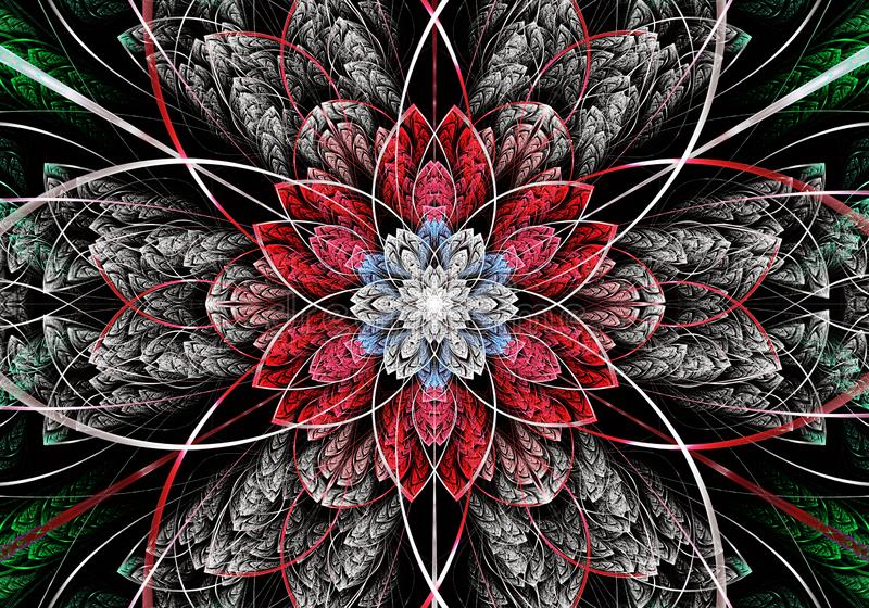 Multicolored symmetrisch fractal patroon als bloem E vector illustratie