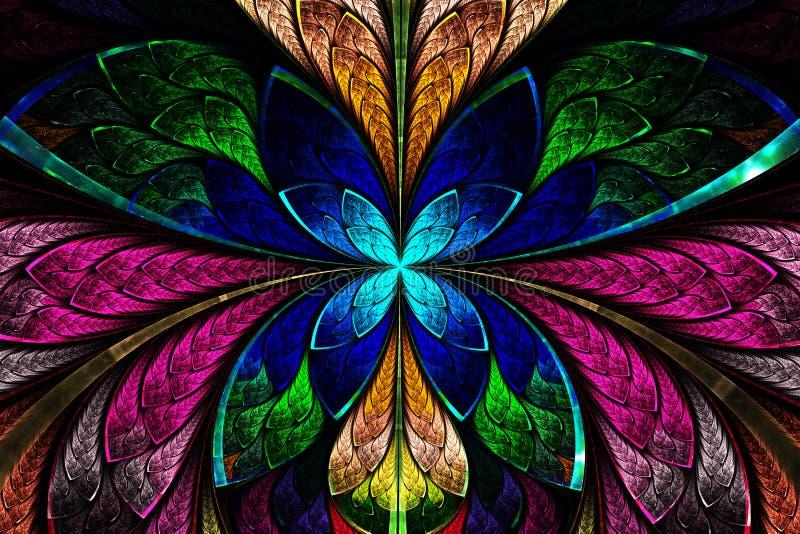 Multicolored symmetrisch fractal patroon als bloem of vlinder royalty-vrije illustratie