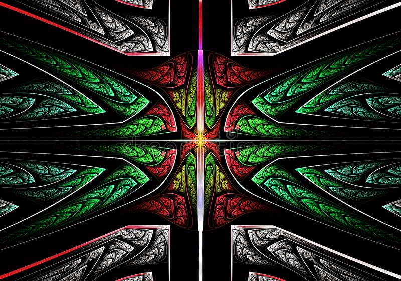 Multicolored symmetrisch fractal patroon als ornament E royalty-vrije illustratie