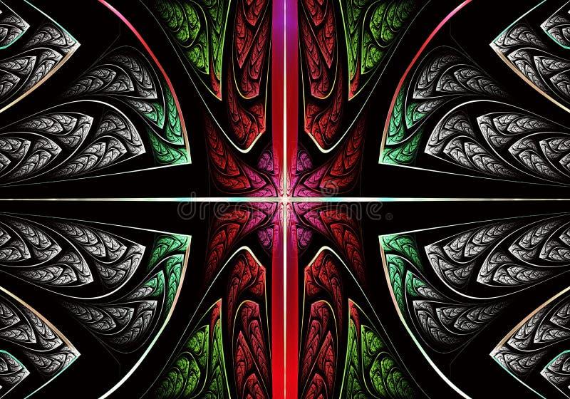 Multicolored symmetrisch fractal patroon als ornament E vector illustratie