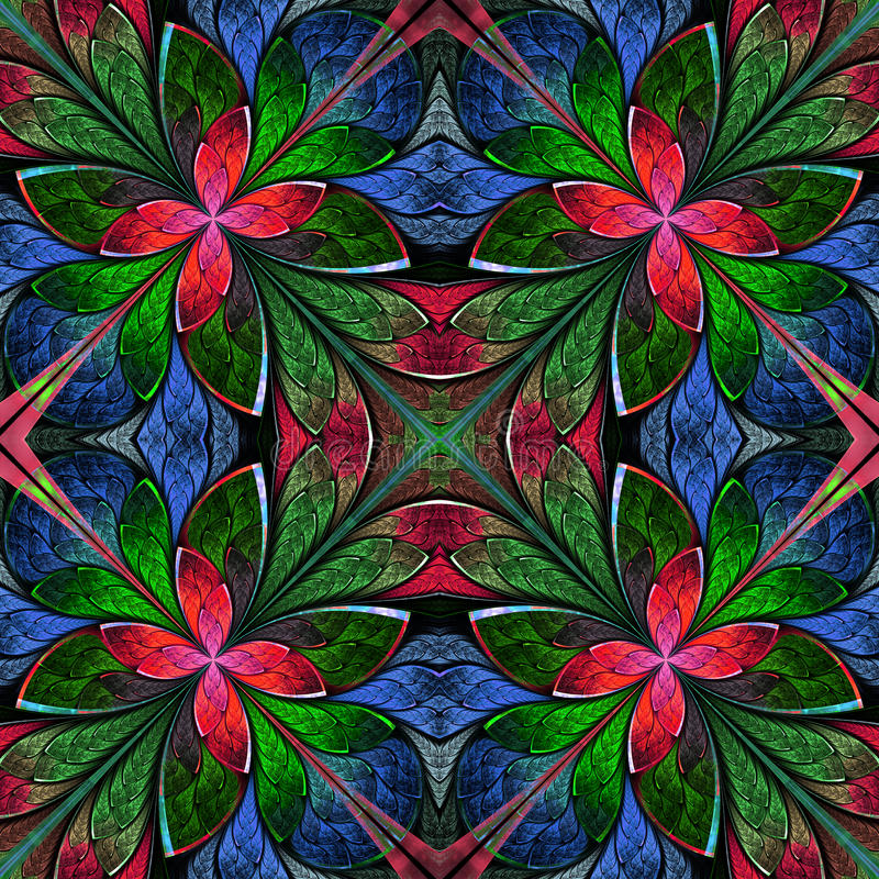 Multicolored symmetrisch fractal patroon in gebrandschilderd glasvenster royalty-vrije illustratie