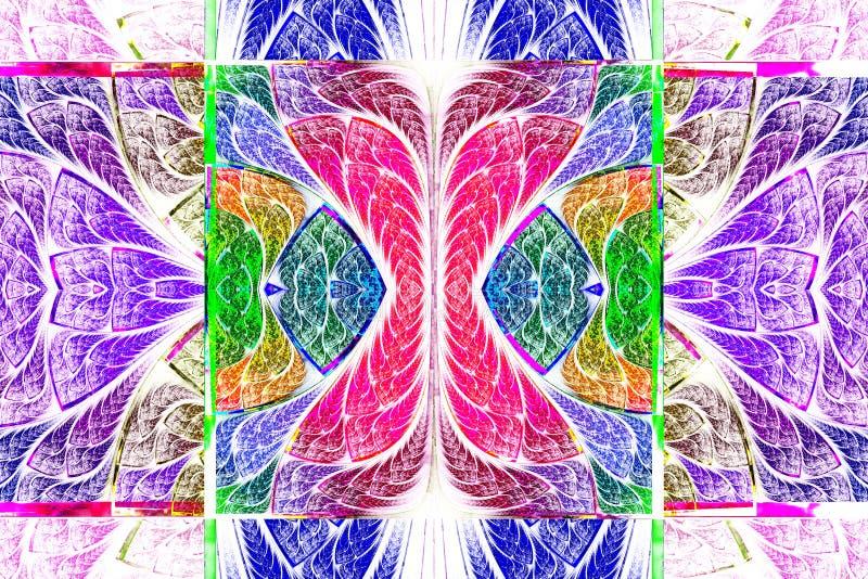 Multicolored symmetrisch geometrisch patroon in gebrandschilderd glasstyl royalty-vrije illustratie