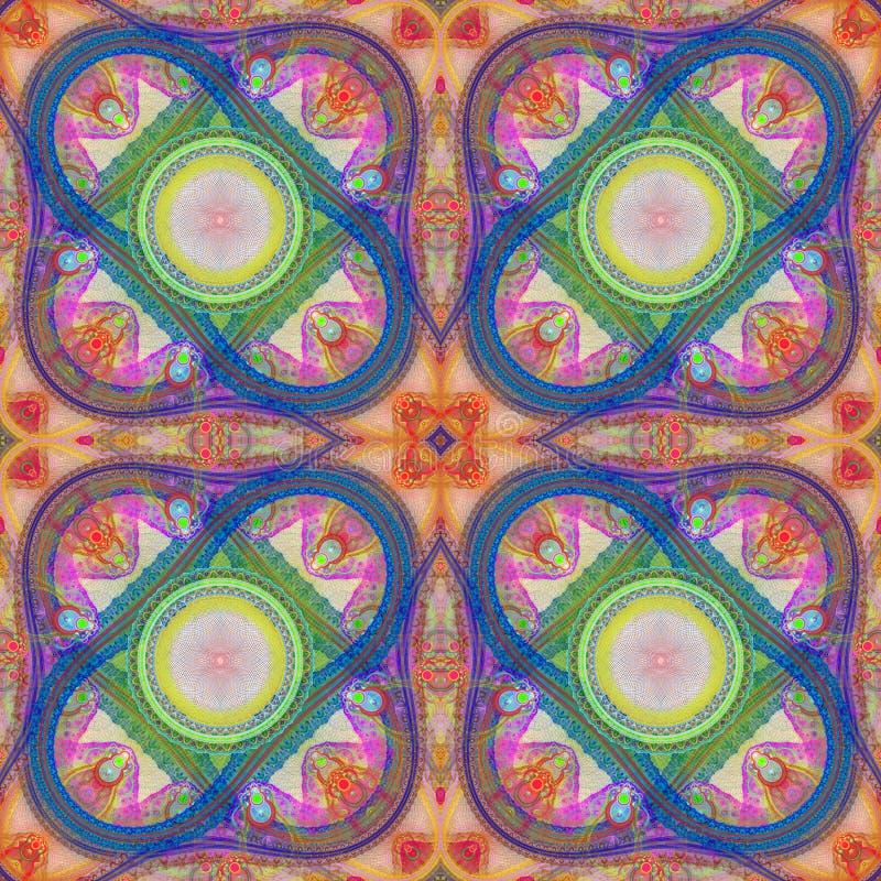 Multicolored symmetrisch netfractal patroon De computer produceert vector illustratie