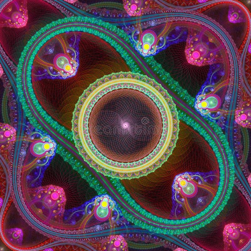 Multicolored symmetrisch netfractal patroon De computer produceert royalty-vrije illustratie