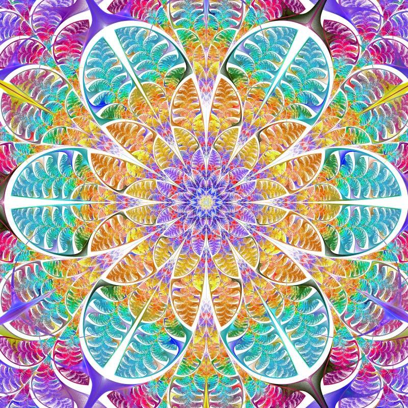 Multicolored symmetrisch patroon van de bladeren Inzameling - tre royalty-vrije illustratie