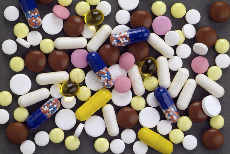 Multicolored tablets stock photo