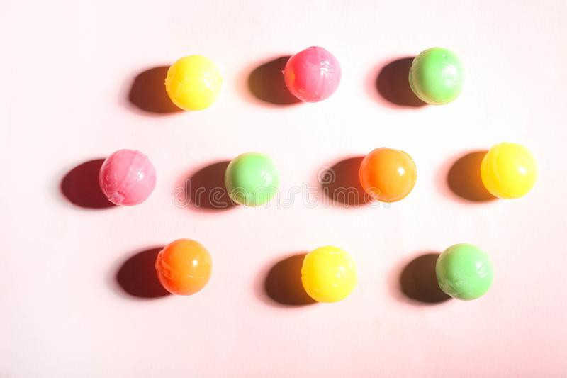 Multicolored tasty round candies royalty free stock photo
