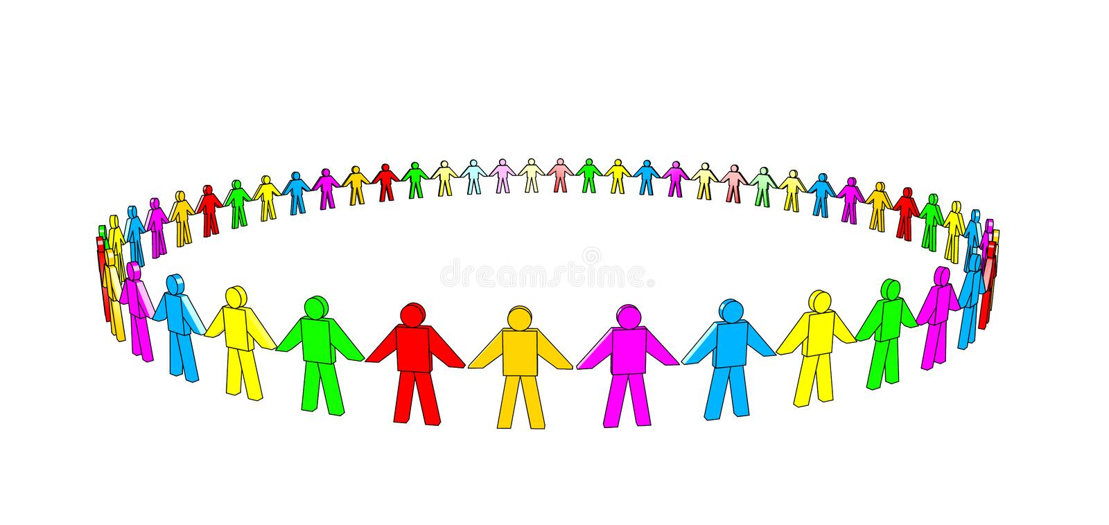 Multicolored Team. Multicolored 3d people in a circle