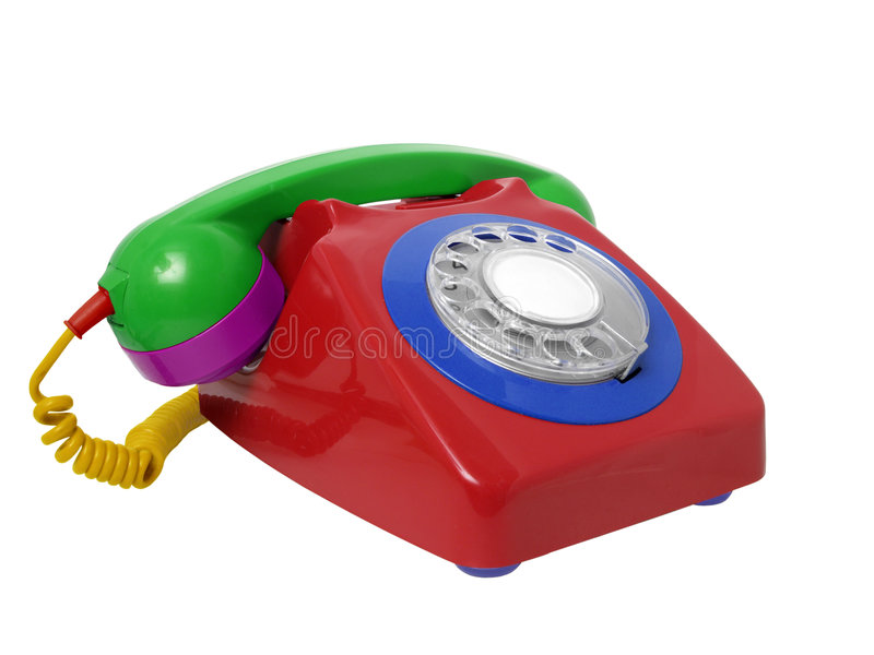 Multicolored Rotary Landline Telephone royalty free stock photography