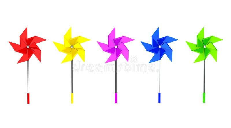 Multicolored Toy Pinwheel Windmill stock illustratie