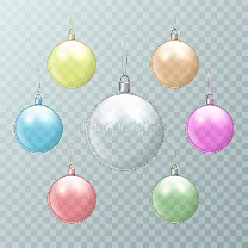 Christmas multicolored glass balls on a transparent background. New Year`s transparent glass ball. Vector illustration. vector illustration