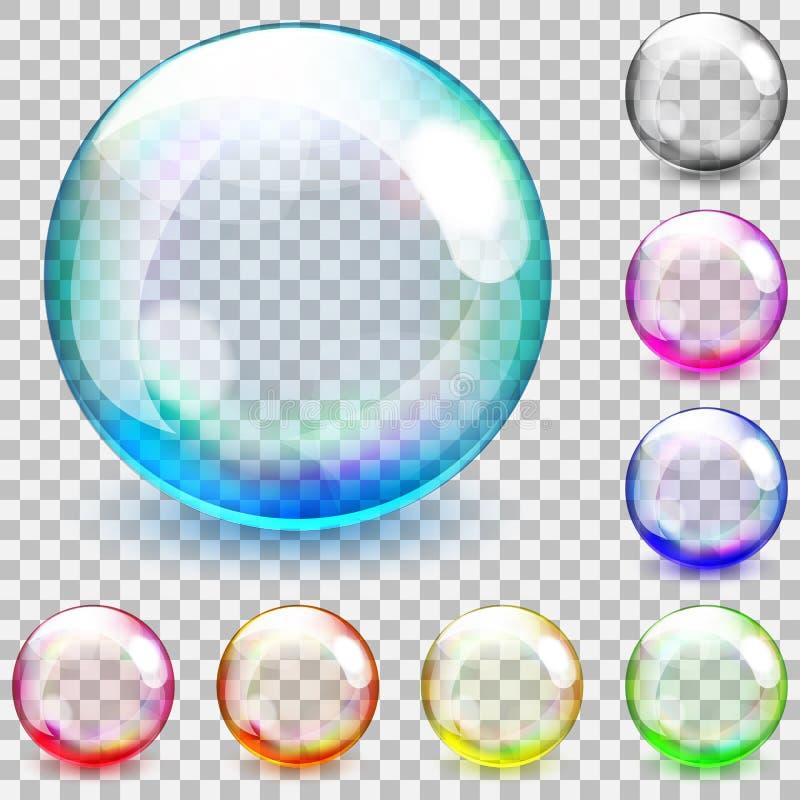 Multicolored transparent glass spheres. Set of multicolored transparent glass spheres on a plaid background stock illustration