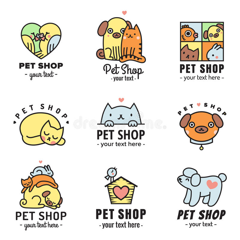 Multicolored vectorreeks van dierenwinkel de leuke emblemen Kan als stickers worden gebruikt stock illustratie