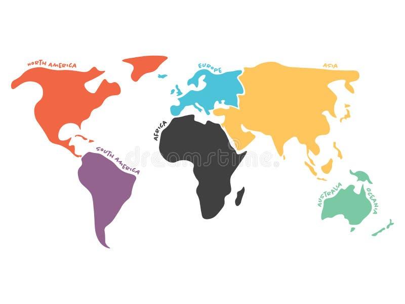 Multicolored vereenvoudigde die wereldkaart aan continenten wordt verdeeld vector illustratie