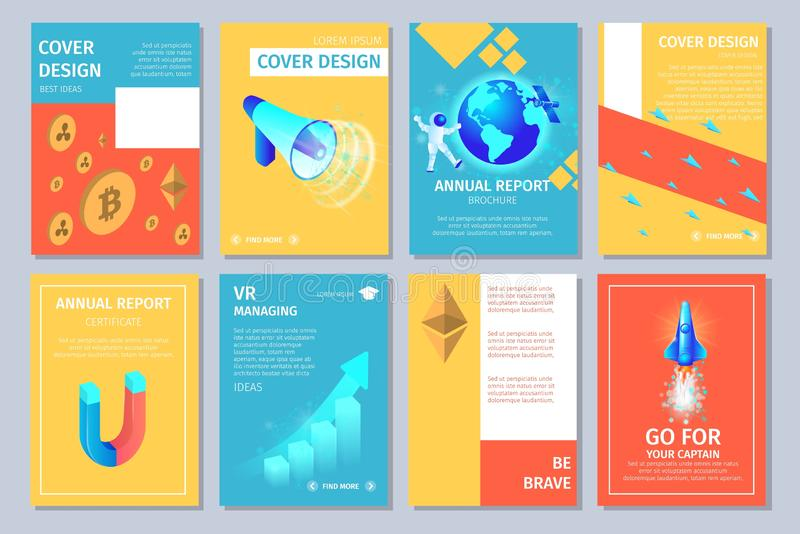 Multicolored Vertical Banners Set with Copy Space. stock illustration
