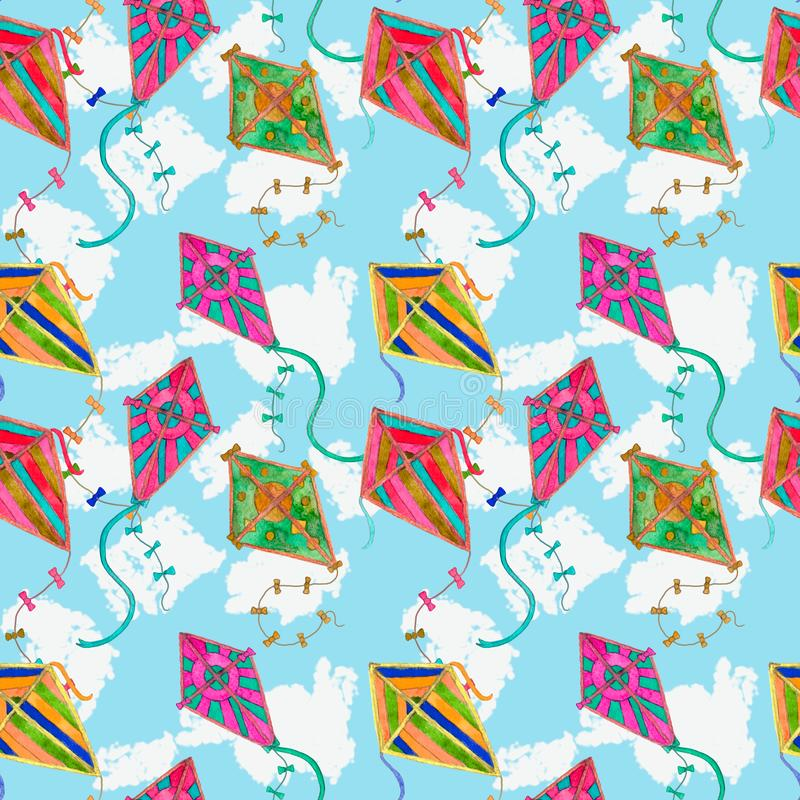Multicolored vibrant kites watercolor seamless pattern with blue sky and white clouds. Background, rainbow, bright, air, summer, cartoon, illustration, drawing royalty free stock photos