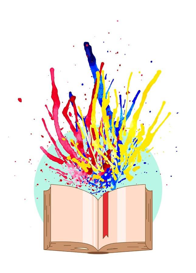 Multicolored vlieg van waterverfplonsen van het boek Conceptueel idee van nieuwe levendige kennis Vector illustratie EPS10 stock illustratie