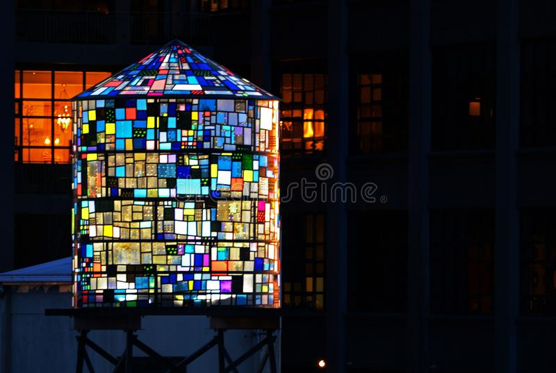 Multicolored water tower sculpture in Brooklyn stock photos