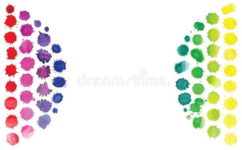 Multicolored watercolor blot template. Abstract artistic background. Watercolor vector bright stains. Collection of abstract watercolor blobs. Watercolor stock illustration
