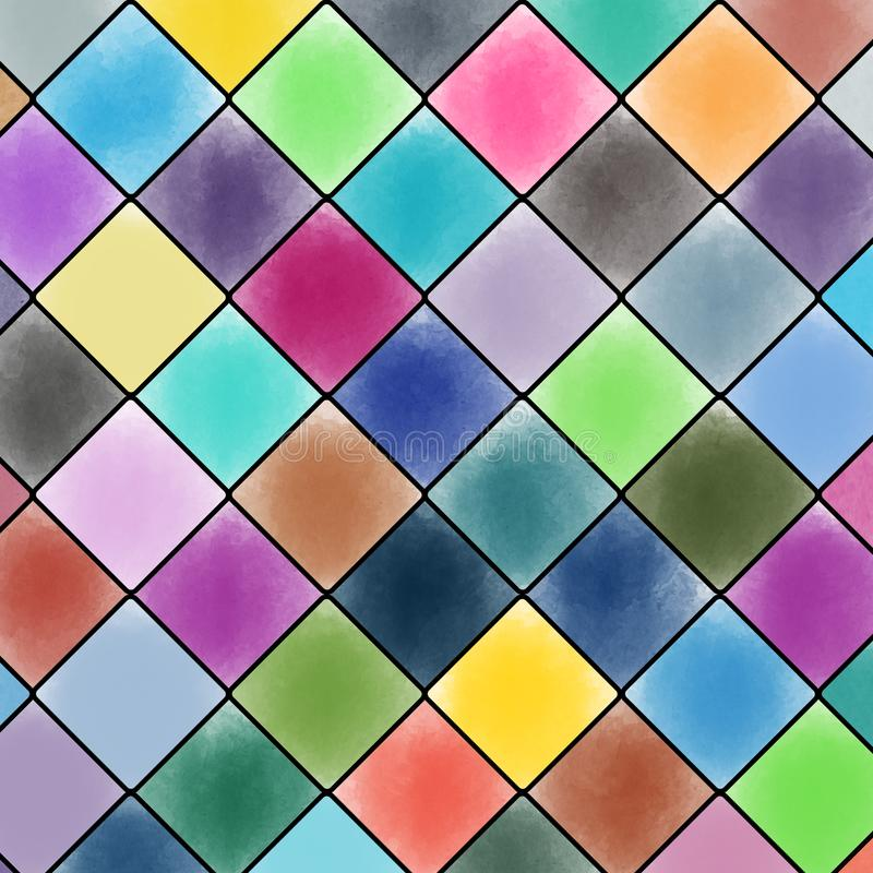 Diamond patterned watercolor painting background. vector illustration