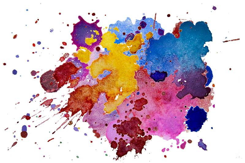 Multicolored watercolor splash texture blots background isolated. Grunge hand drawn blob, spot and droplets. Watercolour splatter vector illustration