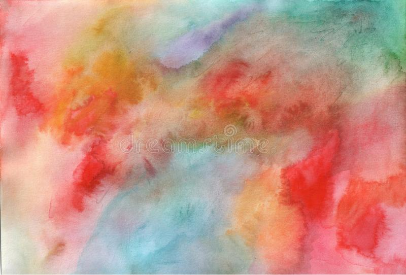 Multicolored watercolor texture. Hand drawn aquarelle pattern for design. Artistic grunge backdrop. Raster illustration.  stock photo