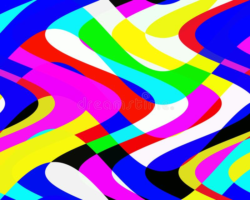 Colorful vivid waves lines, abstract web bacground and texture. Multicolored waves lines shapes, squares, bright geometries, abstract texture. Colors are placed stock illustration